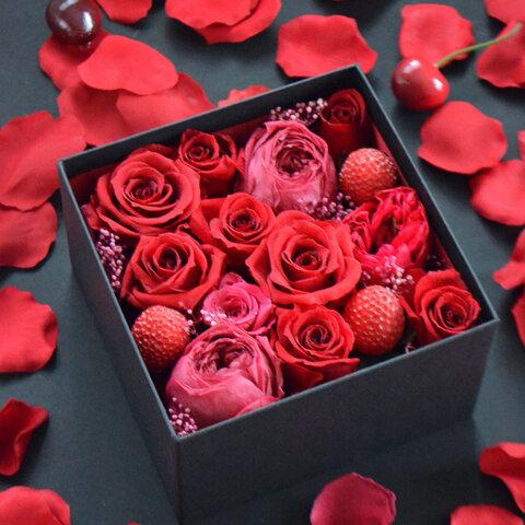 ボックスフラワー・赤バラ|ダズンローズ