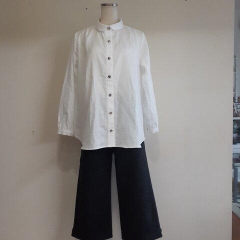 丸衿シャツ(長袖)~肩ギャザー入り~(受注生産です)
