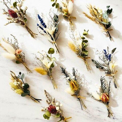 ミニブーケ アンティーク調 アソート 結婚式 ミニ花束 席札 ドライ&プリザーブドフラワー ウェディング bouquet019