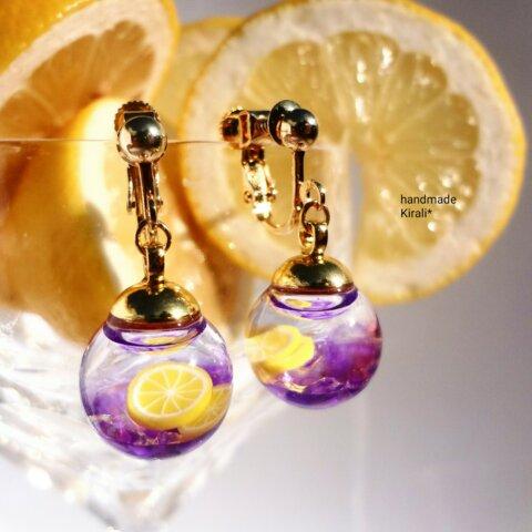 小さなカクテルの世界*バイオレットフィズの液体ガラスドームイヤリング
