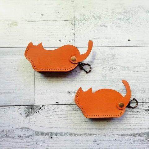 猫のシルエット スマートキーケース キーホルダー 本革 レザー