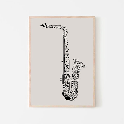 サクソフォン / アートポスター ミニマル インテリア 2L〜 音楽 ミュージック ジャズ サックス サクソフォーン 音符