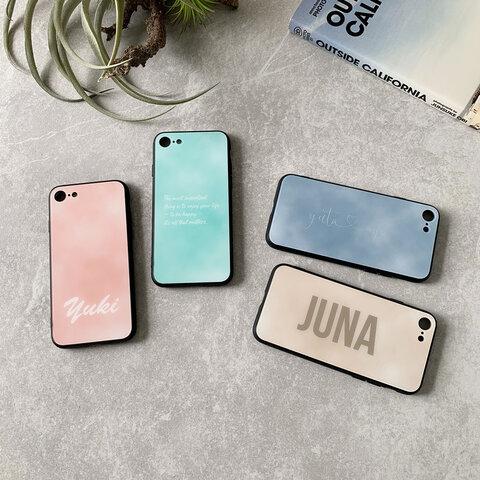 ニュアンスグラデーション柄スマホケース♪オーダーメイドで名入れできます♪タイダイ柄 大理石柄 iPhone12シリーズ対応
