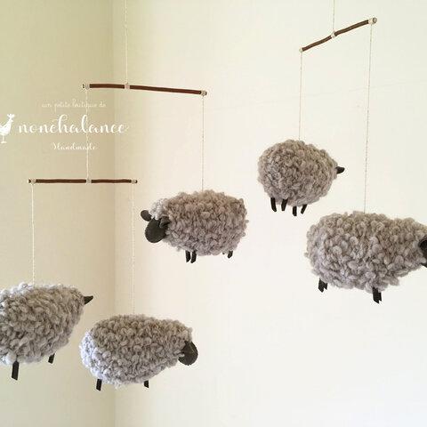 もふもふ毛糸の羊モビール