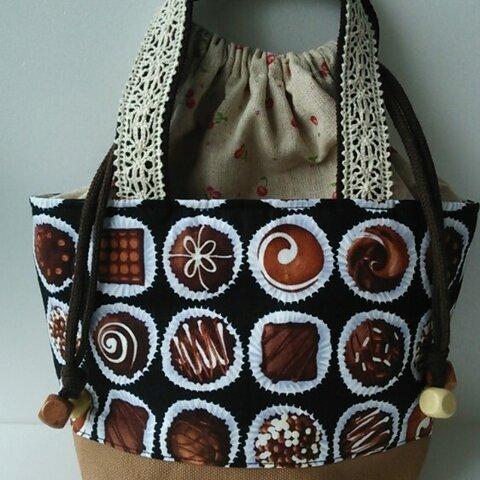 巾着つきおさんぽバッグ  チョコレート柄