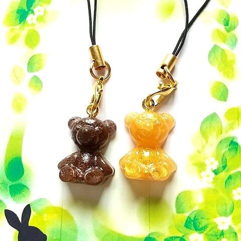 オルゴナイト クマさんストラップ(濃いこげ茶&ゴールド)2セット