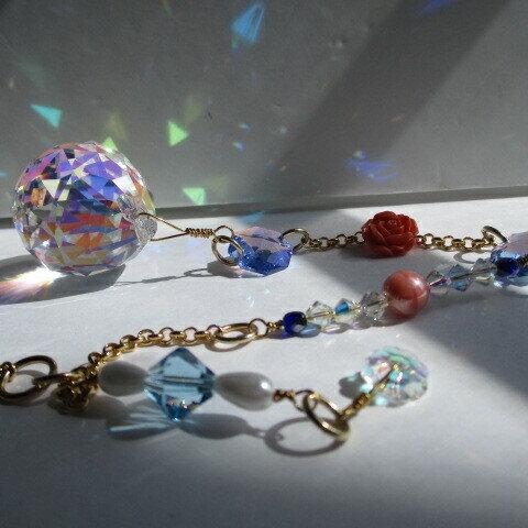 オーロラの光と小さなバラ・ASFOUR 30㎜・スワロフスキーミディアムサファイアシマー・人工コーラルのバラ・プレゼントに (10)