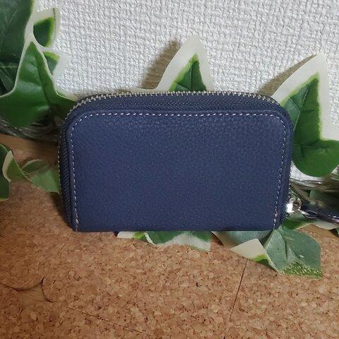 サービス価格 牛革 本革 フランス製 カードケース ジップ ジャバラ型 ネイビー