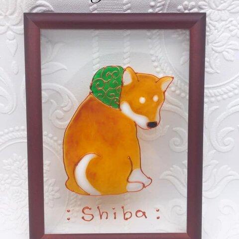 DOG.AM グラスアートフレーム  旅する子柴 柴犬 しばいぬ  赤柴