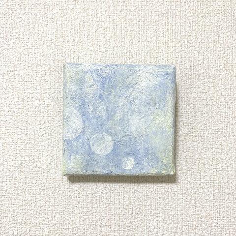 原画 油絵 優しい月 月のアート 抽象画 75×75mm 水色 モダンアート