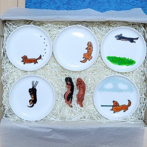 ダックスフンドの絵皿&箸置きセット ギフト専用