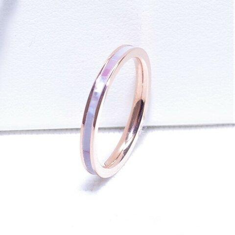 【新作リング】単品オーロラカラー シェルリング   レインボー ピンク 結婚指輪   サージカルステンレス 金属アレルギー対応 誕生日 ギフト プチギフト