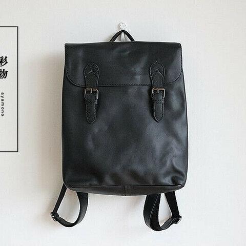 【受注製作】本革まるごとリュックサック バッグ かばん 広々収納 黒RT6180