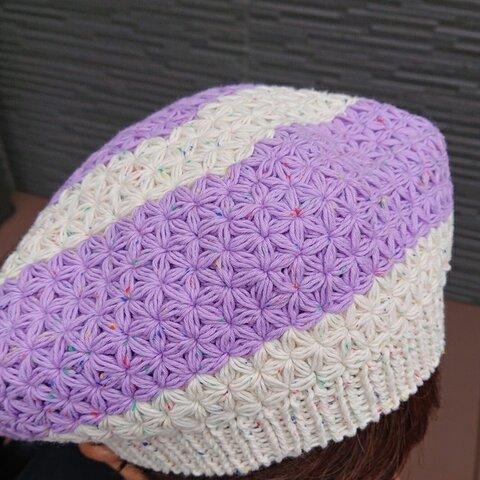 リフ編み☆ベレー帽