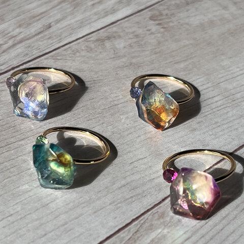 気まぐれな贈り物  鉱石風レジン 指輪、リング 妖精シリーズ