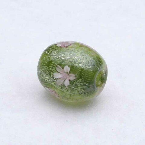 とんぼ玉 グリーン 水中花