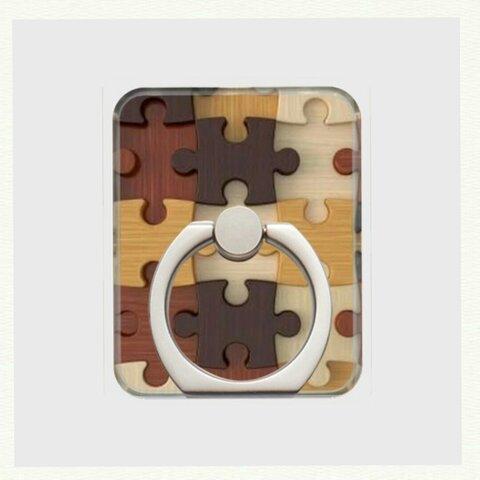 全機種対応【ウッドパズル】スマホリング