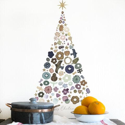 北欧のクリスマスツリー(くすみグリーン) ※大きいサイズ ウォールステッカー