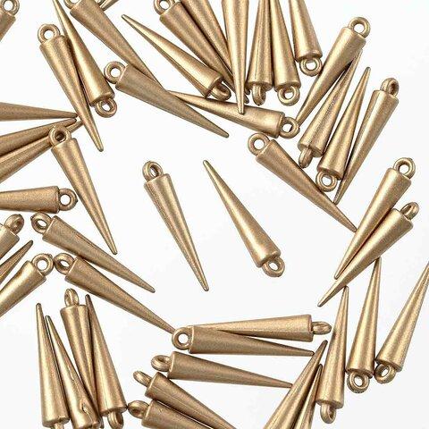 チャーム スタッズ コーン ゴールド プラ製 50個 セット カン付き アクセサリートップ ハンドメイド パーツ 手芸 AP2696