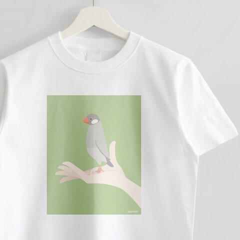 Tシャツ(手タクシー / シルバー文鳥)