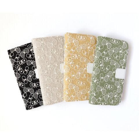 【全機種対応】羽ばたく蝶々 刺繍 手帳型 ・ iPhone ケース Android ケース スマホ スマートフォン カバー
