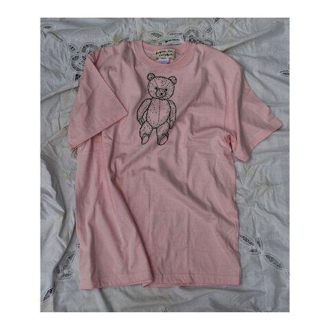 teddybear刺繍 ベビーピンクTシャツ