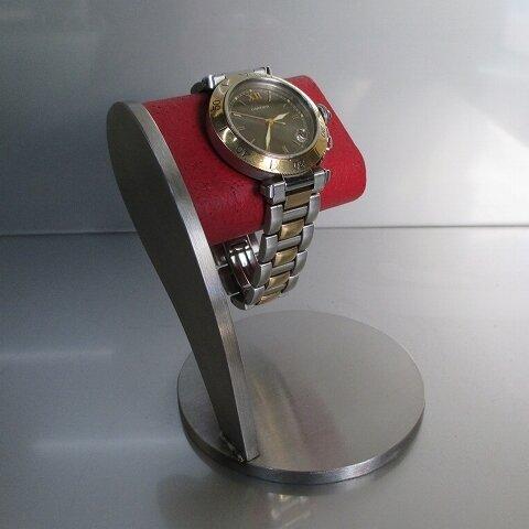 誕生日プレゼントに ヘアーライン仕上げレッドシングル腕時計スタンド 190127