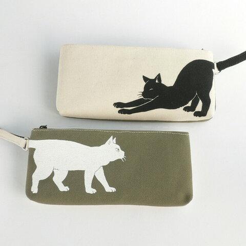 黒猫と白猫の帆布ペンケース