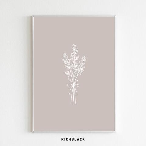 全3色 ブーケ ポスター A4 お花 ドライフラワー 韓国 インテリア 線画 一筆書き 抽象画 ラインアート ウェルカム 玄関 北欧 シンプル カフェ ナチュラル