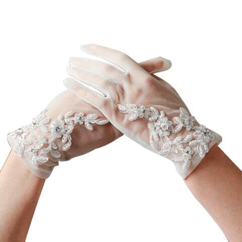 ウェディングショートグローブ オーガンジー レース 刺繍 手袋 ラインストーン パール 白 小物 花嫁 結婚式 ワイト ブライダル