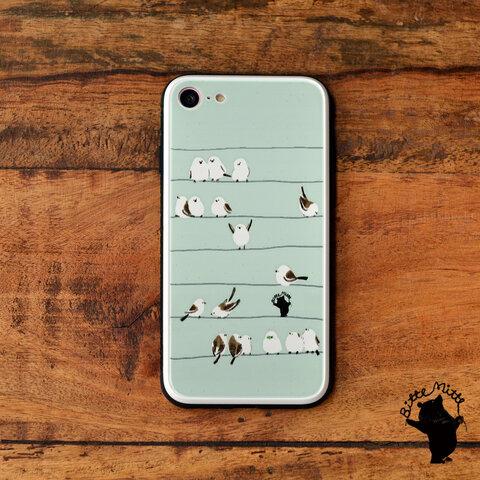 スマホケース 強化ガラス iphone12 シマエナガ
