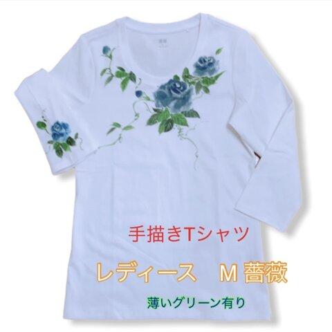 手描きTシャツ薔薇 レディースM