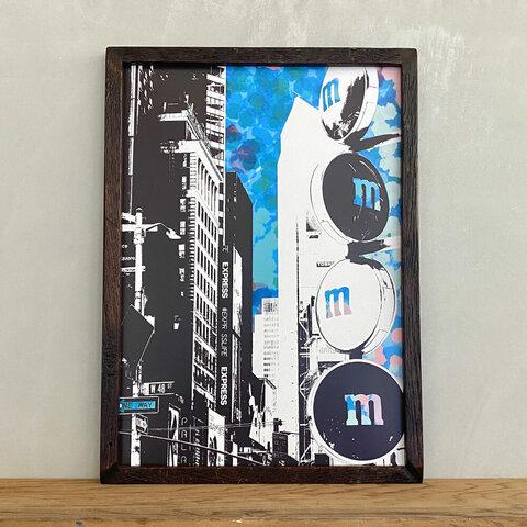 ポスターアート A3 ニューヨーク Ambivalent no.2 M&Ms + 古材 ポスターフレーム