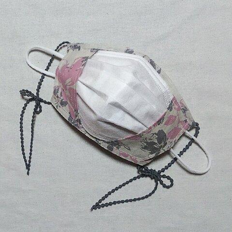 リボンマスク1枚仕立て立体マスクカバー共布パイピング