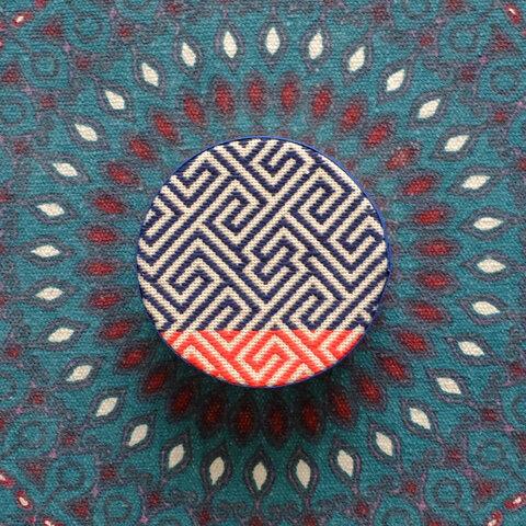 小物入れ丸型ボックス☺︎こぎん刺し刺繍コバコイナヅマ☺︎