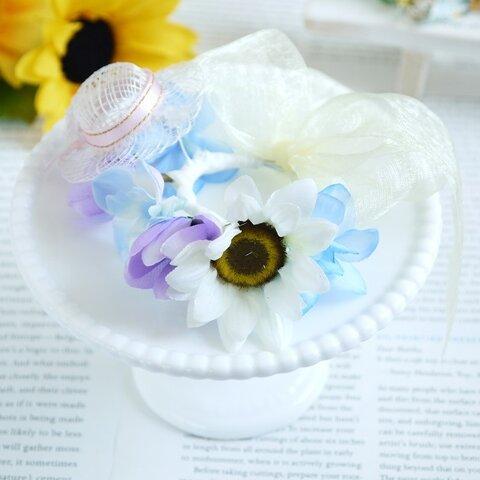 シナマイハット付き白ひまわりの花冠(イエローリボン) うさぎ花冠  SS~Sサイズ