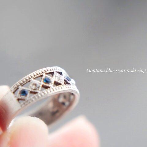 Montana blue and  crystal swarovski  ring