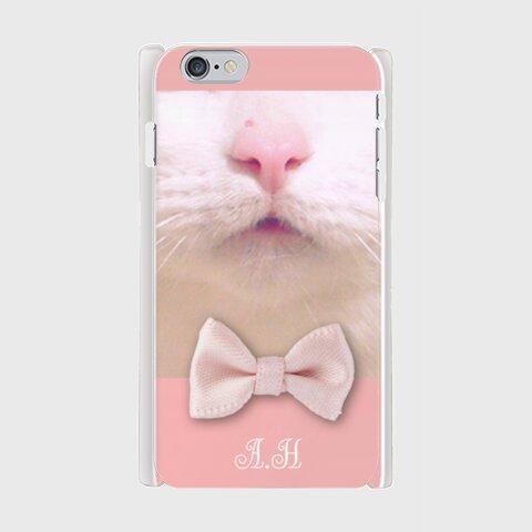 【受注生産】イニシャル・文字入れ可☆白ネコのスマホケース