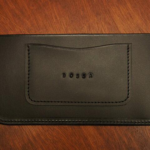 BOSSA ヌメ革製 シンプル スリムなカード入れ付き札入れ BS2 黒 ブラック 財布 本革製 レザー 日本製