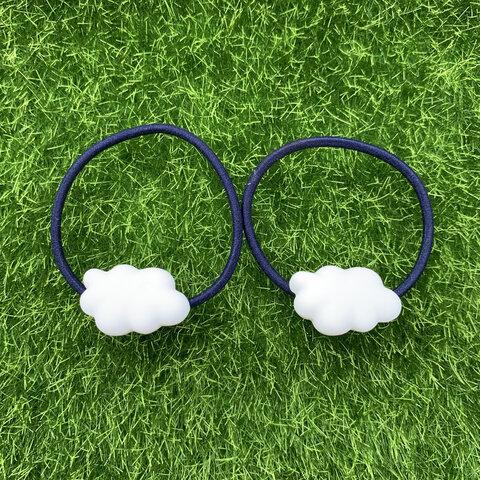 ぷっくりミニ雲⭐︎紺色ヘアゴム2個セット