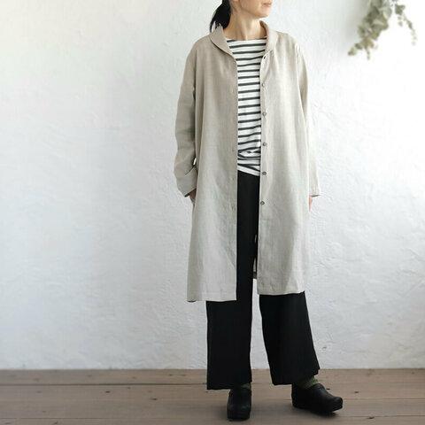 リネン ショールカラー 2wayシャツコート 羽織り (ナチュラルベージュ)
