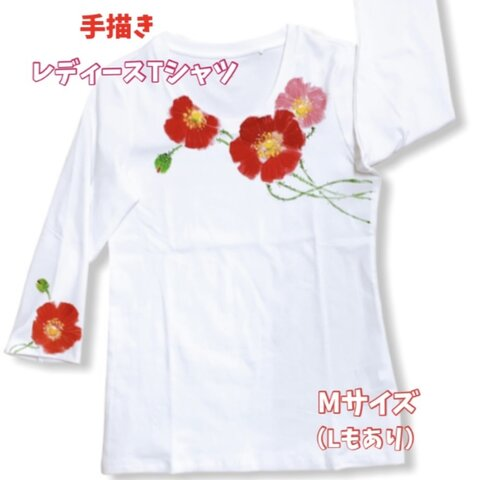手描きTシャツ薔薇 Mサイズ