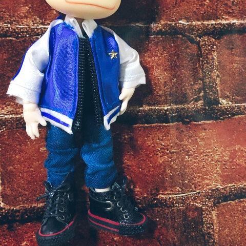 【ジャケット】💙🤍青✖️白のクールなジャケット オビツ11ねんどろいどどーるサイズ