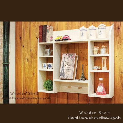 【送料無料】アンティーク風 シェルフ 木製 棚 ホワイト
