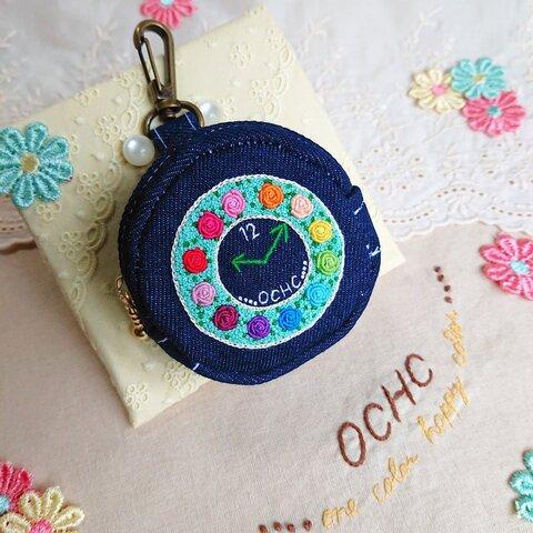 デニム刺繍ポーチ・12色のバラ時計