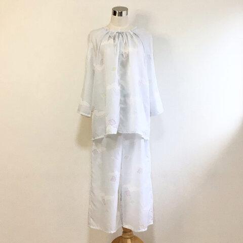 ラグランスリーブルームウェア【送料無料】着物リメイク 水色