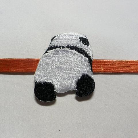 ◆パンダの刺繍帯留め飾り②