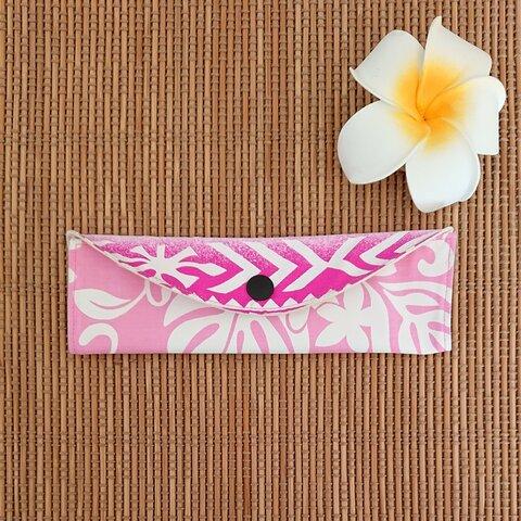 【在庫処分SALE】マスクケース 横折りver. (プリーツ用)★ピンク×ハワイアンキルト柄