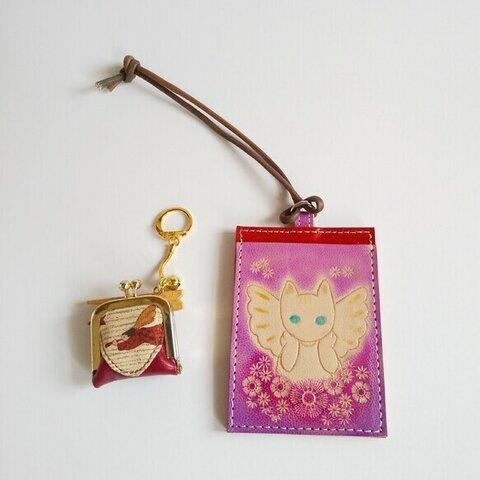 天使猫のパスケースと天使柄のガマ口小銭入れピルケースセット 自転車の鍵入れ 革キーホルダー パスケース 定期入れ