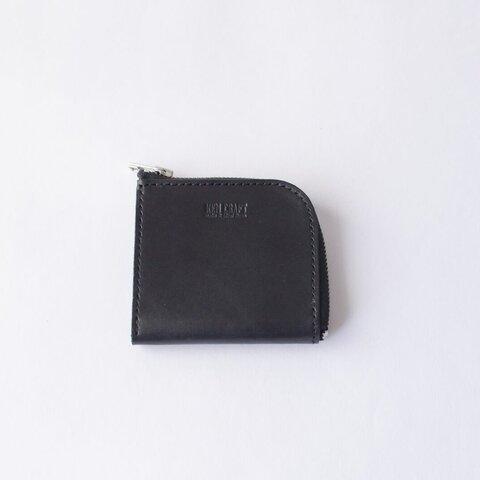 本革 ミニマルなLジップ財布 ブラック